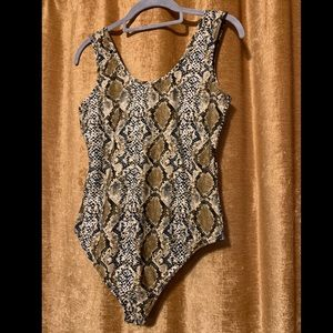Super soft snake skin print bodysuit